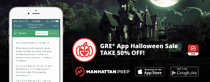 Manhattan Prep GRE Blog - GRE App Halloween Sale - Take 50% Off!